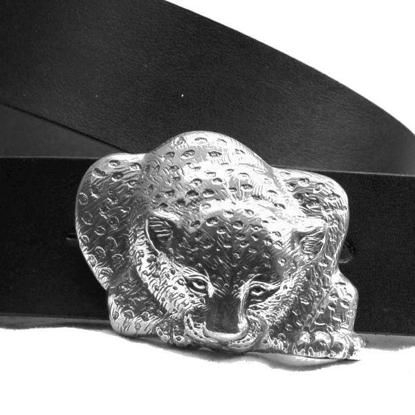 Bonaroca Gürtel Leopard Jaguar Rindleder 925 Sterling Silber, GL6