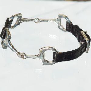 Reiterarmband Leder, 2 Trensen/Schnalle schwarz