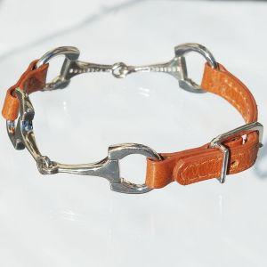 Reiterarmband Leder, 2 Trensen/Schnalle orange