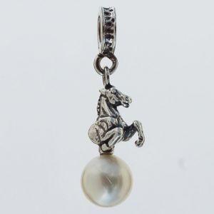 Bonaroca Charm Anhänger Pferd auf Perle weiss