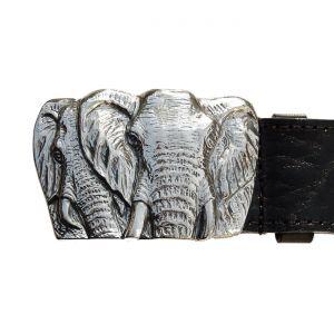Bonaroca Gürtel 2 Elefanten Rindleder 925 Sterling Silber, GL5