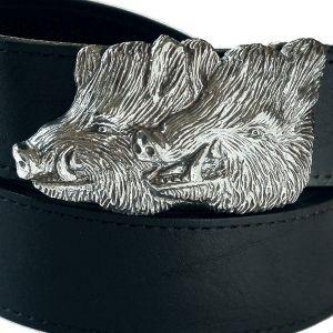 Bonaroca Gürtel Wildsauen Keiler Rindleder 925 Sterling Silber, GL4