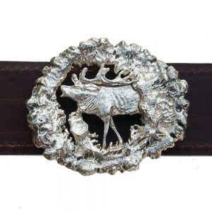 Bonaroca Gürtel kapitaler Hirsch Rindleder 925 Sterling Silber, GL3