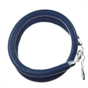 Damenlederwickelarmband 2-fach marineblau Kollektion ASMARA AS02-4