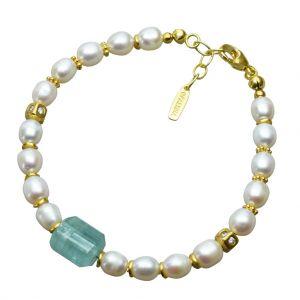 Bonaroca Süßwasser-Perlarmband mit facettiertem Turmalin und Zwischenteilen mit Swarovski Kristallen OA113G