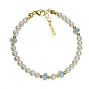 Bonaroca Süßwasser-Perlarmband mit transparenten blauen Topas Zwischenteilen OA114G