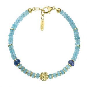 Bonaroca Edelsteinarmband aus facettierten Apatit Perlen und Silberblüte OA122G