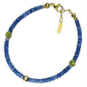 Bonaroca Edelsteinarmband aus facettierten Kyanit Perlen und Swarowski Kristallen OA125G