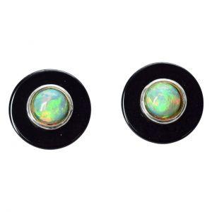 Bonaroca Manschettenknöpfe Opal Cabochon 8mm auf Onixplatte, Sterling Silber, 9106