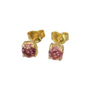 Bonaroca Silber Ohrstecker rosa Turmalin Edelstein Cabochon 5mm, 925 Silber 18Karat Gold plattiert , OG-5405