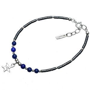 Bonaroca Opalidia Edelstein Hämatit Armband, echt Lapis, Seestern Anhänger mit Swarovski Kristall, Sterling Silber, OA711