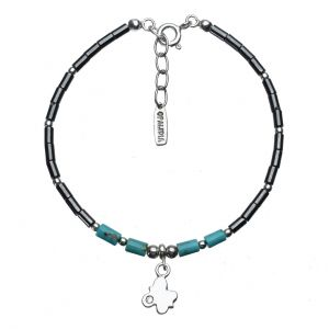 Bonaroca Opalidia Edelstein Hämatit Armband, echt Türkis, Schmetterling Anhänger mit Swarovski Kristall, Sterling Silber, OA712