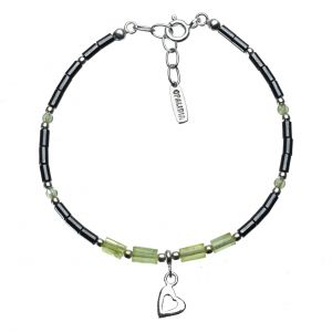 Bonaroca Opalidia Edelstein Hämatit Armband, echt Peridot, Herz Anhänger, Sterling Silber 925, OA713