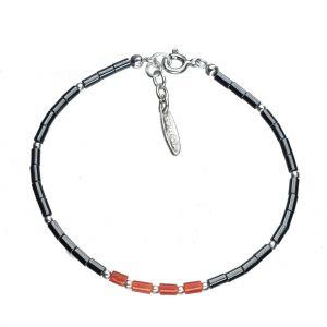 Bonaroca Edelstein Hämatit Armband glatte Röhrchen, mit echt Koralle, Sterling Silber 925, OA700