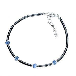 Bonaroca Opalidia Edelstein Hämatit Armband glatte Röhrchen, mit facettierten Kyanit Rondellen, Sterling Silber 925, OA707