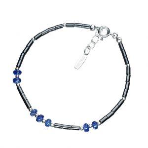 Bonaroca Opalidia Edelstein Hämatit Armband glatte Röhrchen, mit Chrom Saphir Rondellen, Sterling Silber 925, OA705