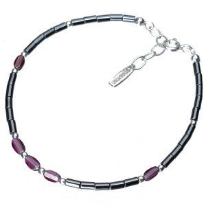 Bonaroca Opalidia Edelstein Hämatit Armband glatte Röhrchen, mit facettierten Granatelementen, Sterling Silber 925, OA706