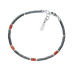 Bonaroca Opalidia Edelstein Hämatit Armband glatte Röhrchen, mit echt Koralle Elementen, Sterling Silber 925, OA701