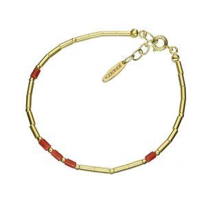 Bonaroca Opalidia Silber Armband glatte Röhrchen Gold plattiert, mit echt Korall Elementen, Sterling Silber 925, OA800G
