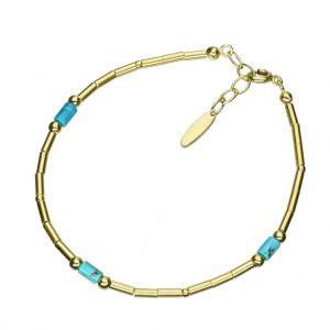 Bonaroca Opalidia Silber Armband glatte Röhrchen Gold plattiert, mit echt Türkis Elementen, Sterling Silber 925, OA802G