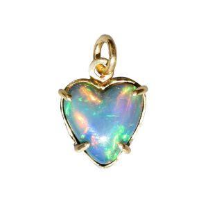 BONA ROCA Herz Anhänger echt Edel Opal blau-grün grundig Gold 585 Fassung OP14-201
