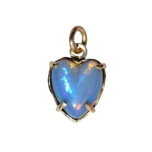 BONA ROCA Herz Anhänger echt Edel Opal blau grundig Gold 585 Fassung OP14-202