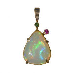BONA ROCA  Edel Opal Anhänger mit farbigen Edelsteinen, Gold 585, OP14-312