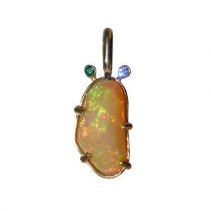 BONA ROCA Edel Opal Anhänger facettiert mit Diamanten, Gold 585, OP14-314