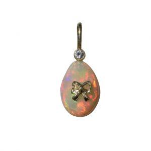 BONA ROCA  Edel Opal Anhänger in Ei Form mit Diamant, Fassung Gold 585, OP14-320