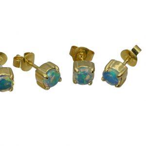 Bonaroca Silber Ohrstecker Edel Opal 5mm facettiert Silber Gold plattiert, OG-5005FC