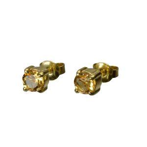 Bonaroca Silber Ohrstecker Citrin 5mm facettiert, Sterling Silber 18 Karat Gold plattiert, OG-5355
