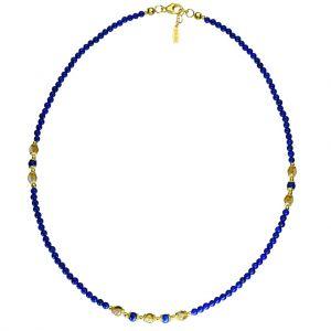 BONA ROCA Lapis Lazuli Edelstein Collier mit Zwischenteilen aus Citrin OK152G