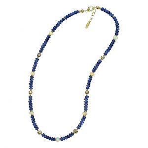 BONA ROCA Edelstein Collier Saphir und Opal Rondelle,  ausgefallene Silberelemente mit Swarowski Kristallen OK163S