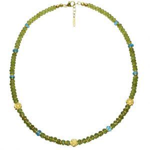 BONA ROCA Edelstein Collier facettierte Peridot und Apatit Rondellen, 3 Blüten in Silber Gold plattiert OK166G