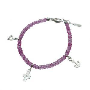 BONA ROCA Liebe Glaube Hoffnung Edelstein Armband facettierte rosa Topas Perlen mit 3 Anhängern OA178