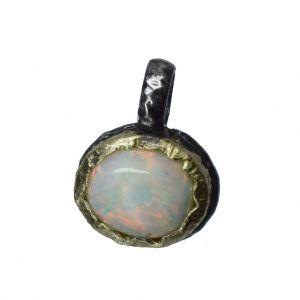 BONA ROCA  Edel Opal Anhänger Charm Cabochon weiss  14 Karat Gold Silber Fassung OP14-502