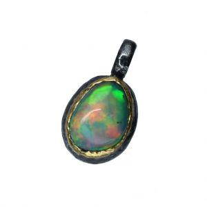 BONA ROCA  Edel Opal Anhänger Charm natürliche Form Fassung 18 Karat Gold mit Sterling Silber OP18-504