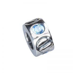 Bead aqua Zirkonia Sterling Silber