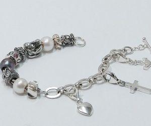 780 Sterling Silber Sammelarmband mit Beads und Charms
