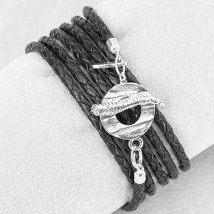 Wickelkette Leder schwarz rund