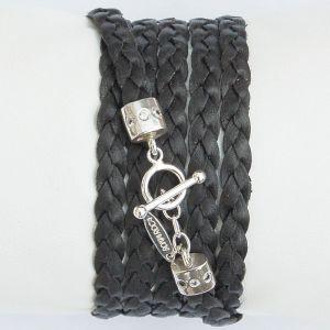 Wickelarmband flach schwarz