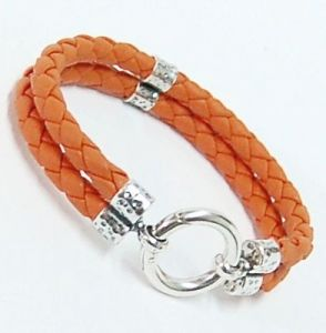 Lederarmband 2-fach orange