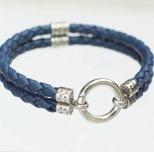 Lederarmband 2-fach blau